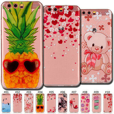 Shockproof Cute Clear Soft Slim Silicone Skin TPU Case Cover Back For Huawei P10