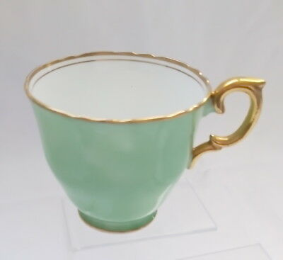🌟 Green Orphan Teacup Gold Handle & Edging Crown Staffordshire Hn