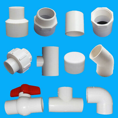 20/25/32mm PVC Ball Valve/End Cap/90°Elbow/Tee Adapter Water Pipe Connectors