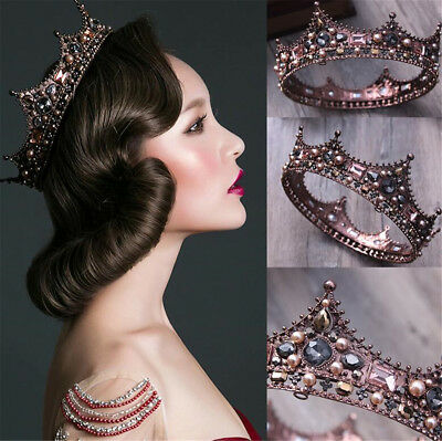 Bridal Hair Accessories Faux Pearl Rhienstone Tiara Baroque Princess Crown