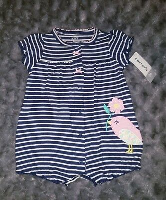 57332250762 NWT Carters Baby Girl Clothes 3 Months One Piece Short Sleeve Stripe Bird  Romper