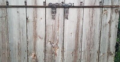 Nice! Vintage/Antique Pair Sliding Barn Door Rollers & 7' track with bolts. Use!