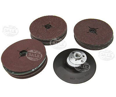 Kit of 3 different size Grit 115mm Rubber Backing Pad for Angle Grinder + disc