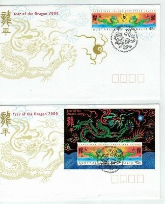 2000  Christmas Island    Year Of The Dragon   2 FDC's  45c Pair & Mini Sheet