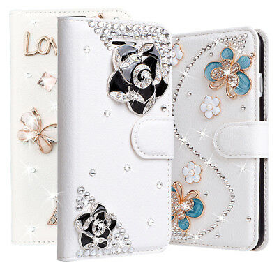 Bling Diamond Rhinestone Leather Flip Slots Wallet Case Cover for LG Cell  Phone