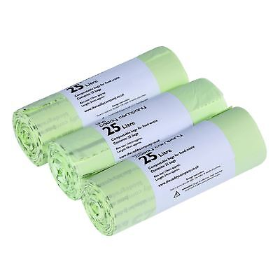 75 x 25 Litre Caddy Company Compostable Kerbside Caddy Bags–EN13432 25L Liners