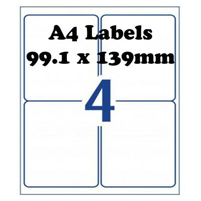 A4 Self Adhesive Address Labels Laser Inkjet Print Mailing Stickers 4 Per Sheet