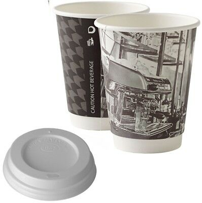 12oz Barista Cups Disposable Paper Coffee Cups Black White Double Wall Sip Lids