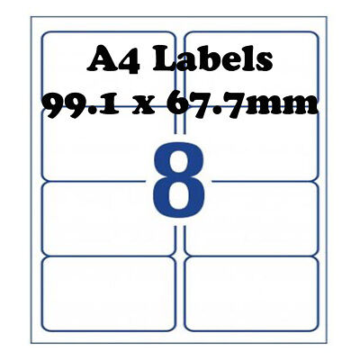 A4 Self Adhesive Address Labels Laser Inkjet Print Mailing Stickers 8 Per Sheet