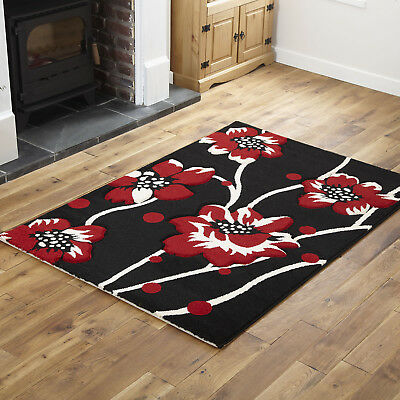 New Soft Clearance Sale Offer Rug Small Extra Large Runner Mats Floral Black Red