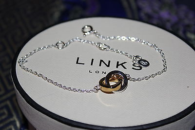 Genuine Links Of London Sterling Silver And Yellow Gold Linked Rings Bracelet