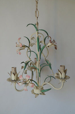 A vintage French hand painted tole ware enamelware chandelier, 3 lights