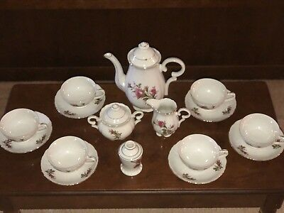Vintage NASCO Del Coronado Moss Rose Tea Set, JAPAN w/Bud Vase
