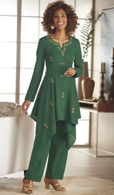 Ashro Green Gold Embroidered Skirt & Pant Suit Wardrober Mix & Match NEW NWT 24W