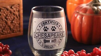 """Etched Stemless Wine Glass - """"Certified Chesapeake Owner"""""""