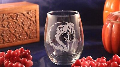 Etched Wine Glass - Collie