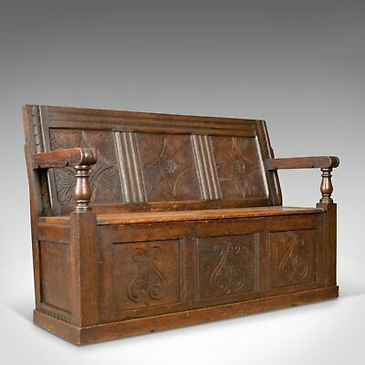 Antique Coffer Settle, English, Oak, Bench, Chest, Trunk Seat, Circa 1700