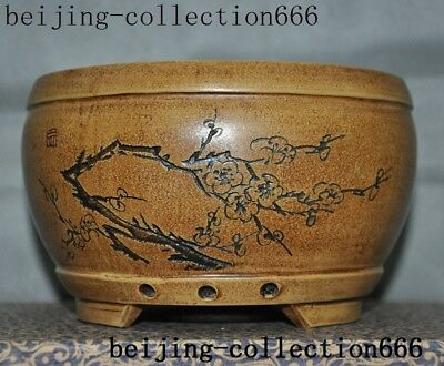 A old China Yixing Zisha pottery carved Plum blossom Text pot Bonsai Potted pots