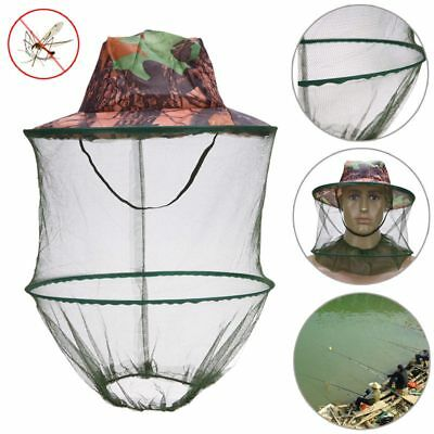 4X(Camouflage Fishing Hat Bee keeping Insects Mosquito Net Prevention Cap Mes SS