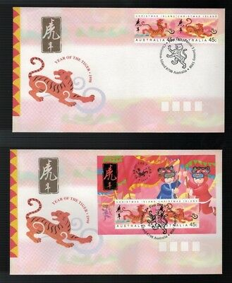 1998 Christmas Island  Year of The Tiger FDC x 2   Pair & Mini Sheet