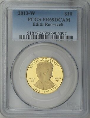 2013 $10 Edith Roosevelt First Spouse 1/2 oz 99.99% Pure Gold Proof PCGS PR69DC