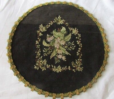 BEAUTIFUL ANTIQUE FRENCH HANDCRAFTED WOOL FLORAL TAPESTRY SEAT COVER c1880