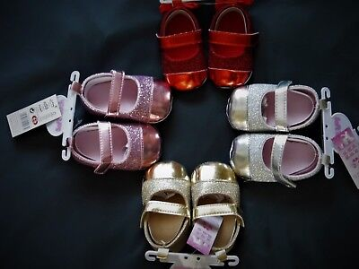 66785abff4af Baby Girl Patent And Glitter Effect Pram Shoes With Hook & Loop Fastener