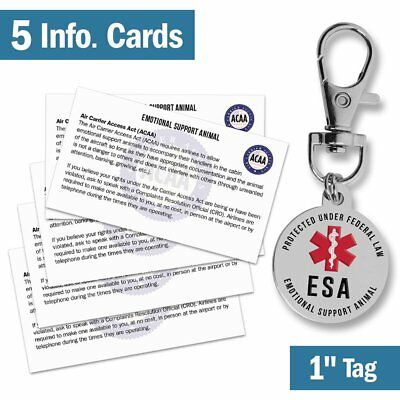 """Emotional Support Dog ESA Tag - 1"""" Small Breed Pet ID Tags w/ 5 Info Cards - - -"""