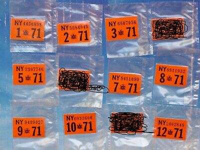 ONE 1971 New York License Plate Registration Year Sticker Pick Month NOS Sealed