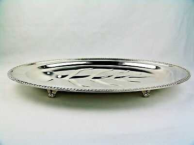 """Rogers 1940 Avon Silver Footed Meat Serving Platter Tray Tree Well 18""""l  3610/18"""