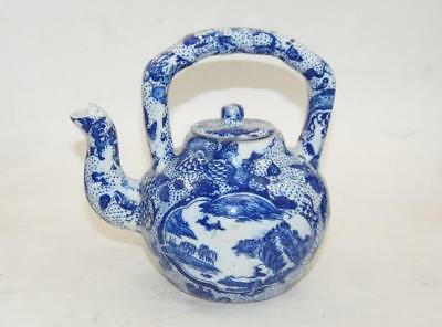 Chinese antique Blue and White porcelain Hand painted landscape teapot