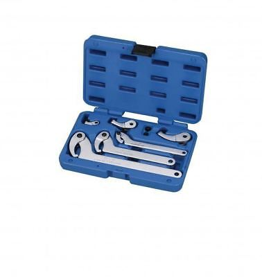 A-AHW8 8pc Adjustable Hook & Pin Wrench Set, C Spanners For Suspension 35-120mm
