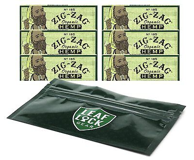 Zig Zag Organic Green 1 1/4 Rolling Papers (6 Pack) with Leaf Lock Gear Pouch
