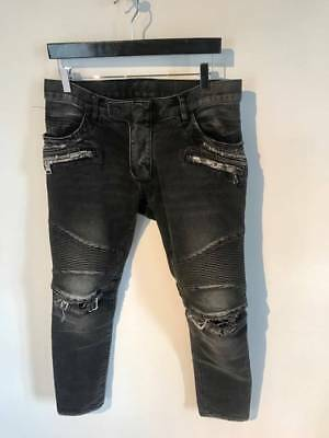 d3fa89b2 BALMAIN BLACK DENIM Coated Authentic Biker $1230 Jeans Size 30 Brand ...