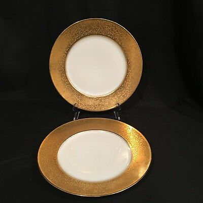 "2 K & A Krautheim Selb Bavaria Gold Encrusted Plates 10 3/4"" Charger Plates"