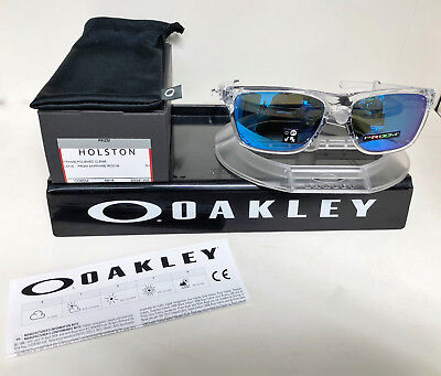 9eb4927ec New Oakley HOLSTON SUNGLASSES POLISHED CLEAR / PRIZM SAPHIRE IRIDIUM OO9334 -1358