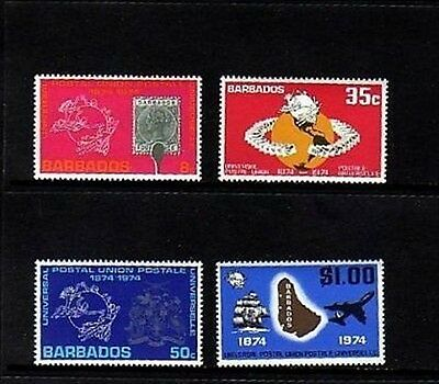 Barbados - 1974 - Upu - Sailing Ship - Jet - Stamp On Stamp - Mint - Mnh Set!