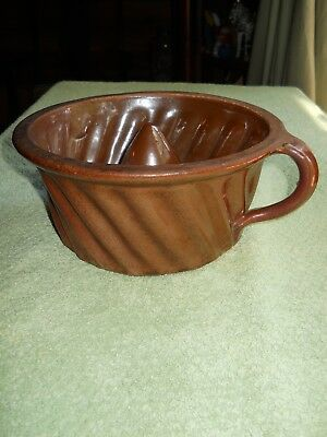 Antique European Handled Brown Glazed Stoneware Pottery Bundt Cake Pan Mold 5Cup