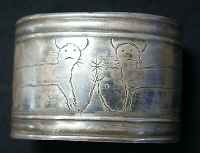Mid 19th Century Underwater Panther Woodlands Indian Mans Very Large Silver Cuff
