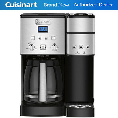 Cuisinart 12 Cup Coffeemaker & Single Serve Brewer w 3 Year Warranty-Stainless S