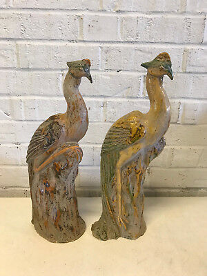 Vintage Chinese Terra Cotta Tang Dynasty Style Pair of Birds / Phoenix Statues