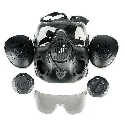 Paintball Tactical Airsoft Game FULL Face Safety Mask Guard BLACK Protection AU