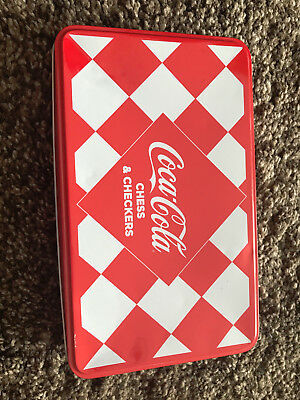 Coca-Cola Coke Chess & Checkers Magnetic Travel Game Set Tin Storage Box Used