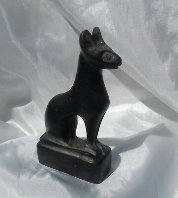 Ancient Egyptian Black Cat Carved Stone Basalt