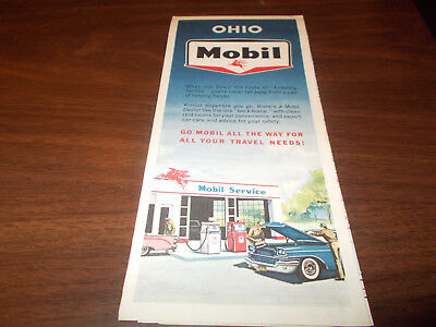 1962 Mobil OHIO Vintage Road Map