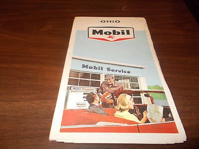 1965 Mobil OHIO Vintage Road Map