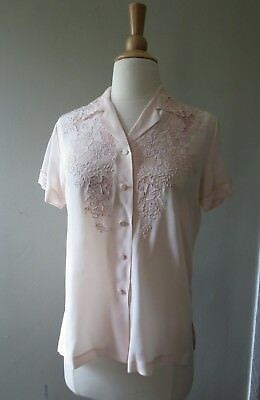 Vintage 1960s Da Fu Gui 100% silk embroidered  light pink blouse size 34