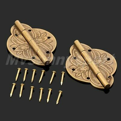 One Pair Vintage Brass Decorative Hinges 43mm*31mm for Jewelry Wooden Gift UK