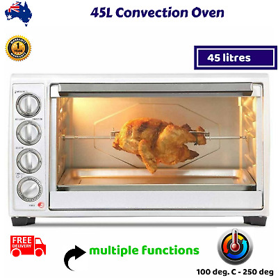 45L Convection Oven Rotisserie Grill Electric Roaster Portable Design Silver