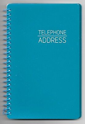 NEW! TEAL AQUA SPIRAL ADDRESS BOOK WITH TABBED PAGES - Large Print & English